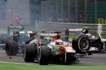 Авария Пола ди Ресты с Романом Грожаном - на первой круге гонки
