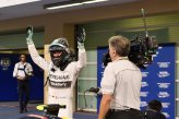Nico Rosberg (GER) Mercedes AMG F1 celebrates his pole position in parc ferme.