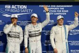 (L to R): Lewis Hamilton (GBR) Mercedes AMG F1, pole sitter Nico Rosberg (GER) Mercedes AMG F1 and Valtteri Bottas (FIN) Williams celebrate in parc ferme.