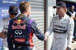 Lewis Hamilton (GBR) Mercedes AMG F1, Sebastian Vettel (GER) Red Bull Racing and pole sitter Nico Rosberg (GER) Mercedes AMG F1 celebrate in parc ferme.