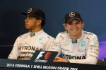 (L to R): Lewis Hamilton (GBR) Mercedes AMG F1 (2nd) and Nico Rosberg (GER) Mercedes AMG F1 (pole position) in the post qualifying Press Conference.