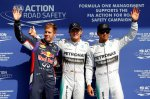 (L to R): Sebastian Vettel (GER) Red Bull Racing, pole sitter Nico Rosberg (GER) Mercedes AMG F1 and Lewis Hamilton (GBR) Mercedes AMG F1 celebrate in parc ferme.