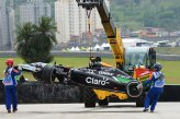 The car of Daniel Juncadella (ESP) Force India VJM07 is recovered after crashing in FP1.