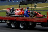 The car of Fernando Alonso (ESP) Ferrari F14 T is recovered at the end of FP2 following engine failure.