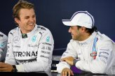 (L to R): Nico Rosberg (GER) Mercedes AMG F1 and Felipe Massa (BRA) Williams in the Press Conference.