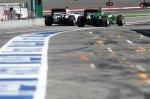 Marcus Ericsson (SWE) Caterham CT05 and Valtteri Bottas (FIN) Williams FW36.