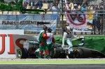 Lewis Hamilton (GBR) Mercedes AMG F1 W05 crashed in Q1.