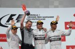 (L to R): Valtteri Bottas (FIN) Williams, Simon Cole (GBR) Mercedes AMG F1 Chief Track Engineer, Race winner Nico Rosberg (GER) Mercedes AMG F1 AND Lewis Hamilton (GBR) Mercedes AMG F1 Celebrate On the podium.