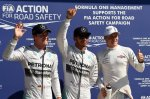(L to R): Nico Rosberg (GER) Mercedes AMG F1, pole sitter Lewis Hamilton (GBR) Mercedes AMG F1 and Valtteri Bottas (FIN) Williams celebrate in parc ferme.