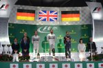 Podium and results: 1st Lewis Hamilton (GBR) Mercedes AMG F1, centre. 2nd Nico Rosberg (GER) Mercedes AMG F1, left. 3rd Sebastian Vettel (GER) Red Bull Racing, right.