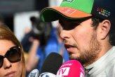 Sergio Perez (MEX) Force India talks with the media.