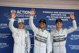 (L to R): Valtteri Bottas (FIN) Williams, pole sitter Lewis Hamilton (GBR) Mercedes AMG F1 and Nico Rosberg (GER) Mercedes AMG F1 celebrate in parc ferme.