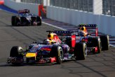 Sebastian Vettel (GER) Red Bull Racing RB10 leads Daniel Ricciardo (AUS) Red Bull Racing RB10.