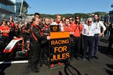 Max Chilton (GBR) Marussia F1 Team; Dave Greenwood (GBR) Marussia Chief Engineer; Graeme Lowdon (GBR) Marussia F1 President and Sporting Director and Charlie Whiting (GBR) FIA Delegate remember the injured Jules Bianchi (FRA) Marussia F1 Team.