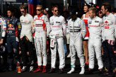(L to R): Daniel Ricciardo (AUS) Red Bull Racing; Nico Hulkenberg (GER) Force India F1; Max Chilton (GBR) Marussia F1 Team; Jenson Button (GBR) McLaren; Lewis Hamilton (GBR) Mercedes AMG F1; Kevin Magnussen (DEN) McLaren and Jean-Eric Vergne (FRA) Scuderia Toro Rosso, remember the injured Jules Bianchi (FRA) Marussia F1 Team with a one minutes silence.