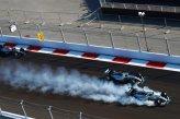 Nico Rosberg (GER) Mercedes AMG F1 W05 locks up inside Lewis Hamilton (GBR) Mercedes AMG F1 W05 at the start of the race.
