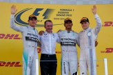 ;tr Nico Rosberg (GER) Mercedes AMG F1, Paddy Lowe (GBR) Mercedes AMG F1 Executive Director (Technical), race winner Lewis Hamilton (GBR) Mercedes AMG F1 and Valtteri Bottas (FIN) Williams celebrate on the podium.