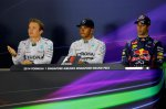Post qualifying Press Conference and results: Pole position Lewis Hamilton (GBR) Mercedes AMG F1, centre. 2nd Nico Rosberg (GER) Mercedes AMG F1, left. 3rd Daniel Ricciardo (AUS) Red Bull Racing, right.