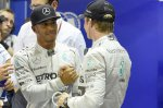 Pole sitter Lewis Hamilton (GBR) Mercedes AMG F1 and Nico Rosberg (GER) Mercedes AMG F1 celebrate in parc ferme.