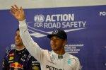 Pole sitter Lewis Hamilton (GBR) Mercedes AMG F1 celebrates in parc ferme.
