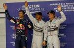 (L to R): Daniel Ricciardo (AUS) Red Bull Racing, pole sitter Lewis Hamilton (GBR) Mercedes AMG F1 and Nico Rosberg (GER) Mercedes AMG F1 celebrate in parc ferme.