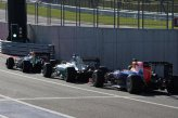 Sergio Perez (MEX) Force India VJM07, Lewis Hamilton (GBR) Mercedes AMG F1 W05 and Sebastian Vettel (GER) Red Bull Racing RB10.
