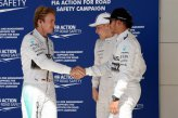 Nico Rosberg (GER) Mercedes AMG F1, Lewis Hamilton (GBR) Mercedes AMG F1 and Valtteri Bottas (FIN) Williams celebrate in parc ferme.