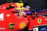 Kimi Raikkonen (FIN) Ferrari in parc ferme.