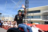 Sergio Perez (MEX) Force India on the drivers parade.